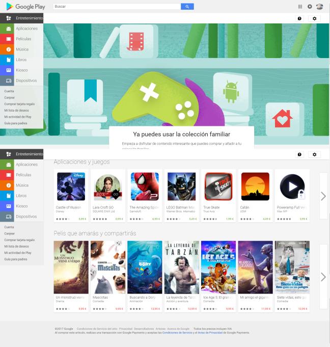 Ya puedes usar la colección familiar Google Play